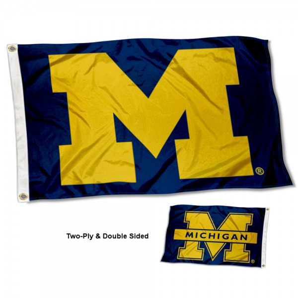 Michigan Wolverines Dual Logo Two Sided 3x5 Flag