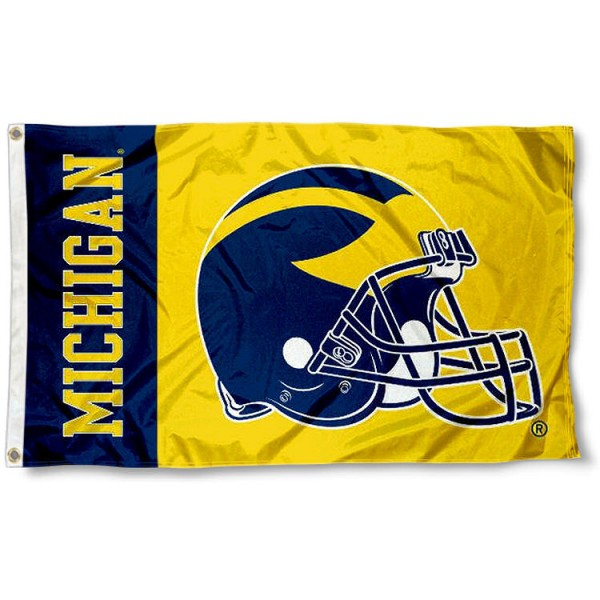 Michigan Wolverines Football Helmet Flag