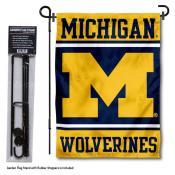 Michigan Wolverines Garden Flag and Holder