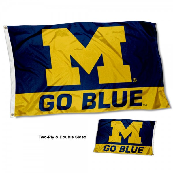 Michigan Wolverines Go Blue 2-Ply Double Sided 3x5 Feet Flag