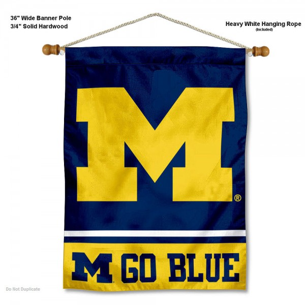 Michigan Wolverines Go Blue Banner with Pole