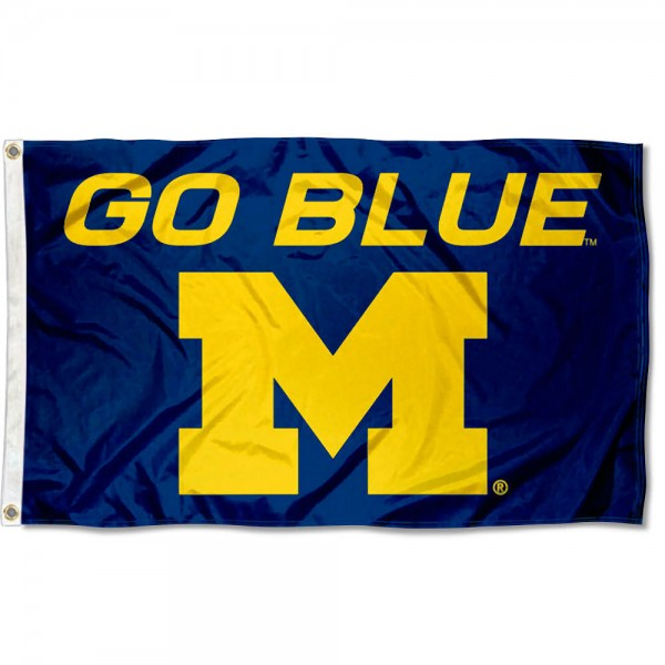 Michigan Wolverines Go Blue Logo Flag