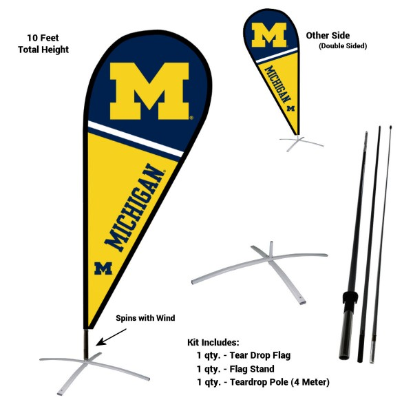 Michigan Wolverines Teardrop Flag and Stand Kit
