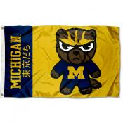 Michigan Wolverines Tokyodachi Cartoon Mascot Flag