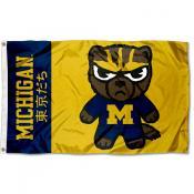 Michigan Wolverines Tokyodachi Cartoon Mascot Flag