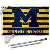 Michigan Wolverines Victors Logo Flag and Bracket Flagpole Kit