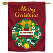 Midwestern State Mustangs Christmas Holiday House Flag