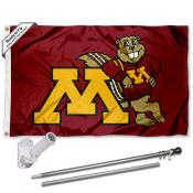 Minnesota Gophers Flag and Bracket Flagpole Set