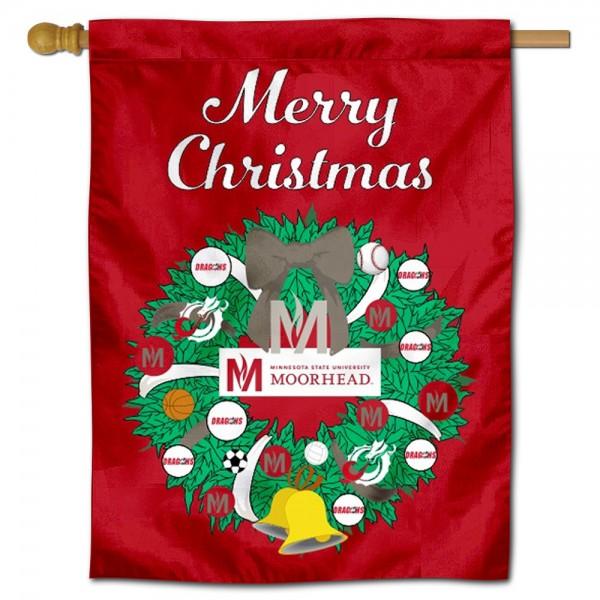 Minnesota State Moorehead Dragons Christmas Holiday House Flag