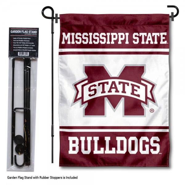 Mississippi State Bulldogs Garden Flag and Holder