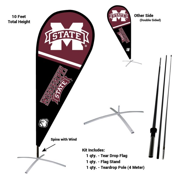 Mississippi State Bulldogs Teardrop Flag and Stand Kit