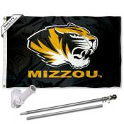 Missouri Mizzou Tigers Flag and Bracket Flagpole Set