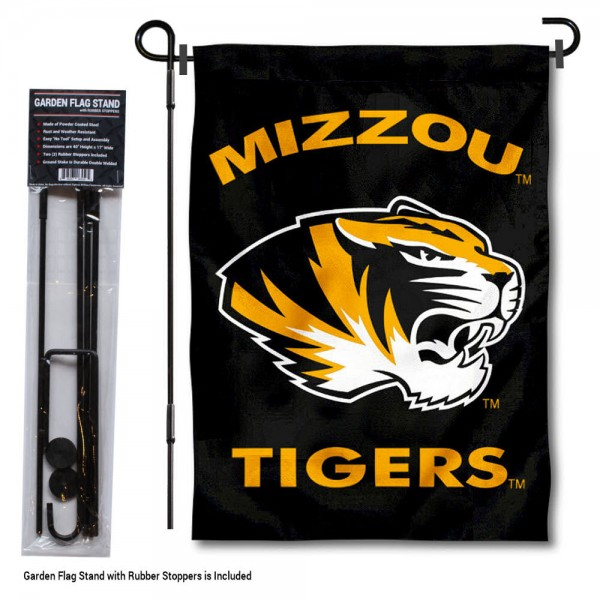 Missouri Tigers Black Garden Flag and Holder