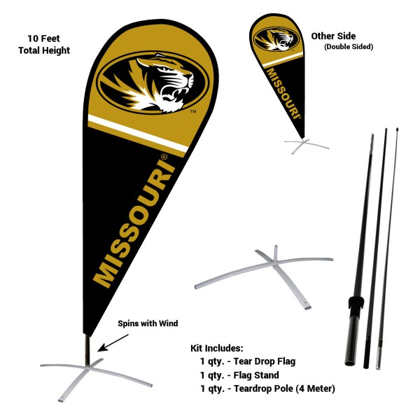 Mizzou Tigers Teardrop Flag and Stand Kit