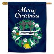 Monmouth Hawks Christmas Holiday House Flag