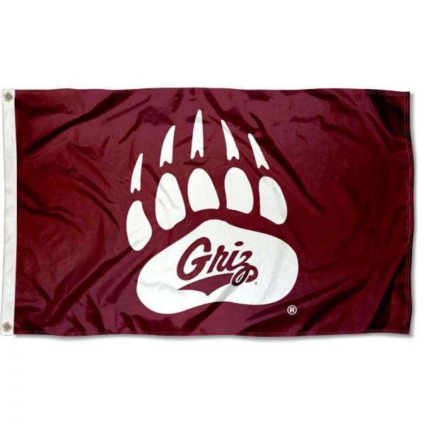 Montana Griz Griz Paw Logo Flag