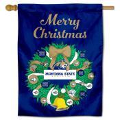 Montana State Bobcats Christmas Holiday House Flag