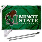 MSU Beavers Flag and Bracket Mount Flagpole Set
