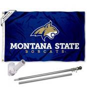 MSU Bobcats Flag and Bracket Mount Flagpole Set