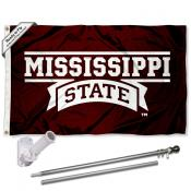 MSU Bulldogs Flag and Bracket Flagpole Set