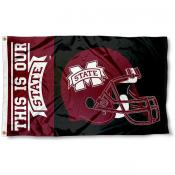 MSU Bulldogs Football Helmet Flag