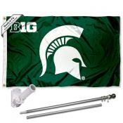 MSU Spartans Big 10 Flag and Bracket Flagpole Set