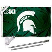 MSU Spartans Big 10 Flag and Bracket Flagpole Set