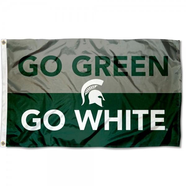 MSU Spartans Go Green Go White Outdoor Flag