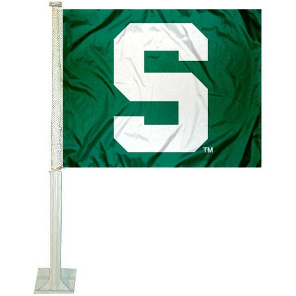 MSU Spartans Green Car Flag
