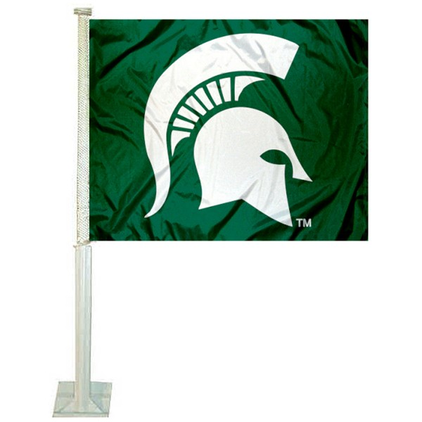 MSU Spartans Spartan Head Car Flag