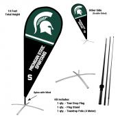 MSU Spartans Teardrop Flag and Stand Kit