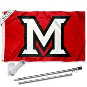 MU Redhawks Flag and Bracket Flagpole Set