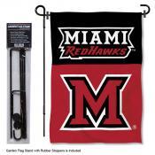 MU Redhawks Wordmark Logo Garden Flag and Holder