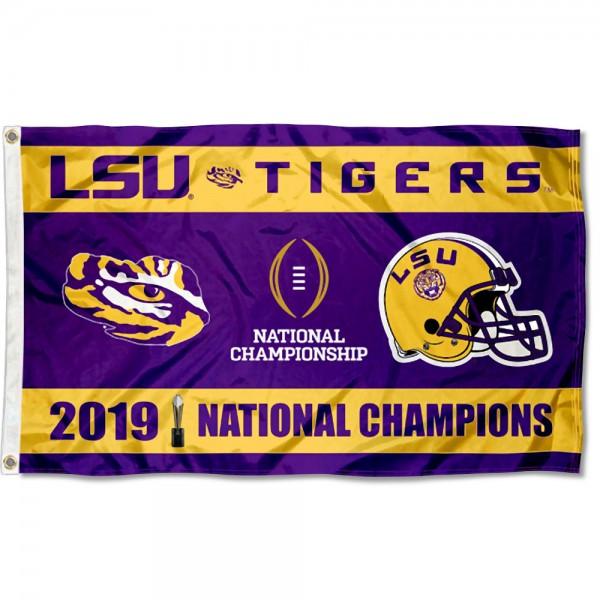 National CFP Champions 2020 2019 LSU Tigers 3x5 Foot Flag
