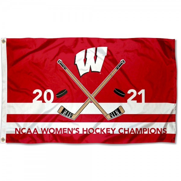 National Champions 2021 Womens Hockey UW Badgers 3x5 Foot Flag