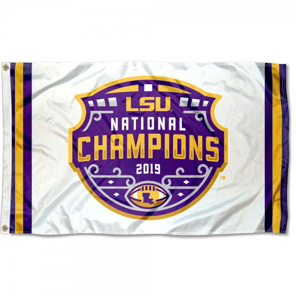 National Champions White Louisiana State LSU Tigers 3x5 Foot Flag