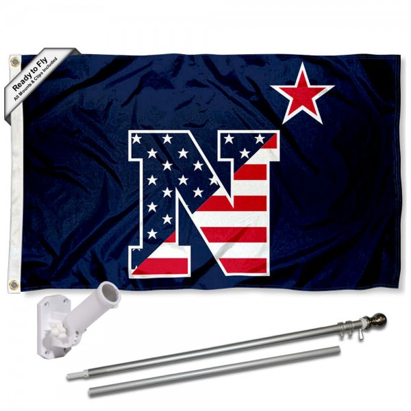 Navy Midshipmen Patriotic Logo Flag and Bracket Flagpole Kit