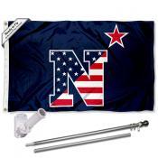 Navy Midshipmen Patriotic Logo Flag and Bracket Flagpole Kit