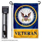 Navy Veteran Garden Flag and Holder