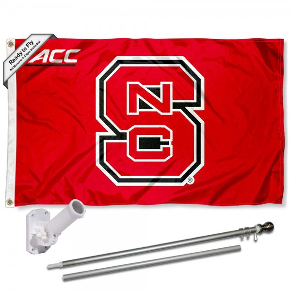 NC State Wolfpack ACC Conference Flag and Bracket Flagpole Set