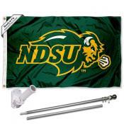 NDSU Bison Flag and Bracket Mount Flagpole Set