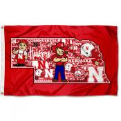 Nebraska Cornhuskers Collage 3x5 Foot Flag