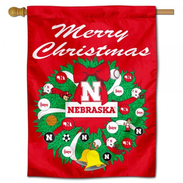 Nebraska Cornhuskers Holiday House Flag