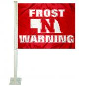 Nebraska Cornhuskers Scott Frost Warning Logo Car Flag