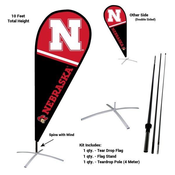Nebraska Cornhuskers Teardrop Flag and Stand Kit