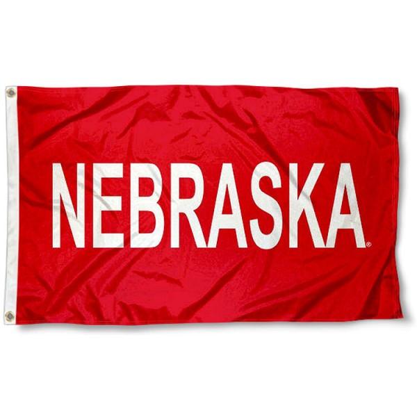 Nebraska Cornhuskers Word Logo Flag