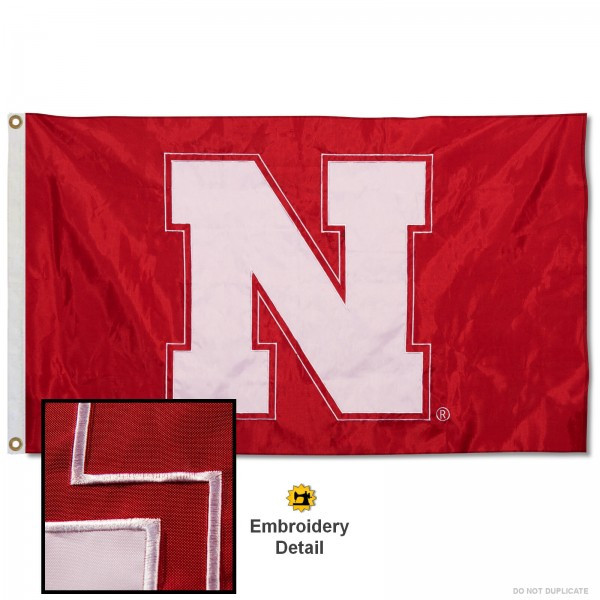 Nebraska Huskers Appliqued Nylon Flag