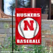 Nebraska Huskers Baseball Garden Flag