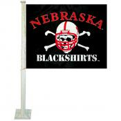 Nebraska Huskers Blackshirts Car Flag