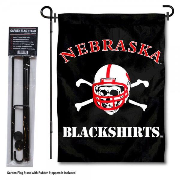 Nebraska Huskers Blackshirts Garden Flag and Holder